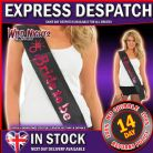 HEN NIGHT PARTY BRIDE TO BE SASH - BLACK WITH PINK